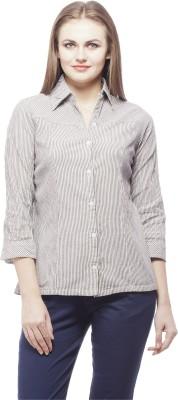 Peptrends Women's Striped Formal Black Shirt