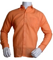 Qube Formal Shirts (Men's) - Qube Men's Solid Formal Orange Shirt