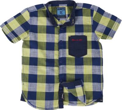 Ice Boys Boy's Checkered Casual Yellow, Blue Shirt