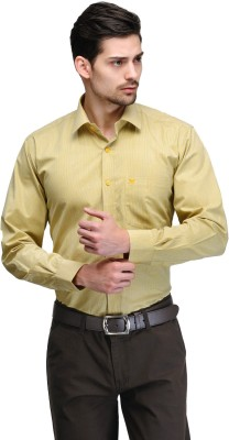 Club Morocco Men's Checkered Formal Yellow Shirt