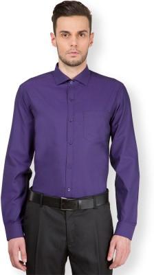 Mark Taylor Men's Solid Formal Purple Shirt