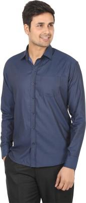 Adhaans Men's Solid Formal Dark Blue Shirt