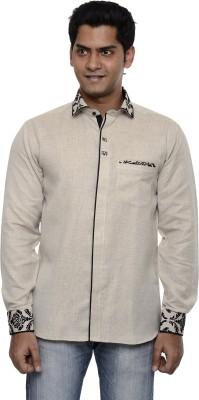 Ach Fashion Men's Self Design Casual Grey Shirt