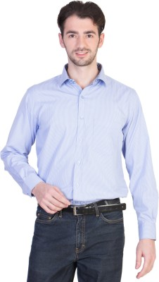 Menmark Men,s Striped Formal Blue, White Shirt