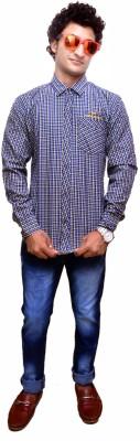 Attitude Works Men's Checkered Casual Dark Blue Shirt