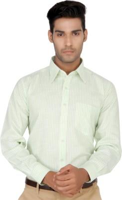 Devaa Men's Striped Formal Green Shirt