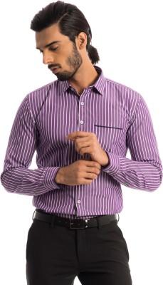 Specimen Men's Striped Casual Purple Shirt