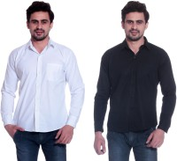 Calibro Formal Shirts (Men's) - Calibro Men's Solid Formal White, Black Shirt(Pack of 2)