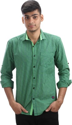 Fashion Bean Men's Checkered Casual Green Shirt