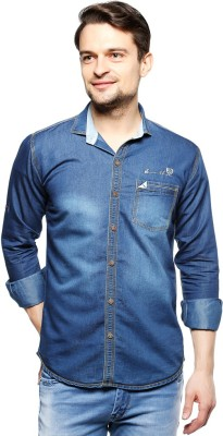 Live-On by Fasnoya Men's Solid Casual Denim Blue Shirt