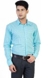 Monk Collection Men's Printed Casual Blu...