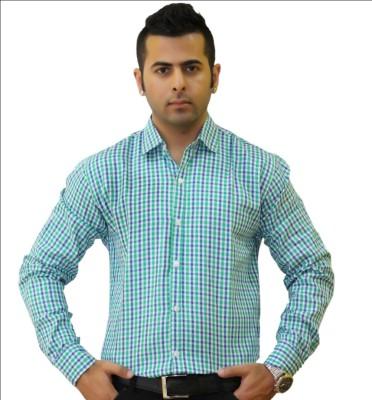 Togsun Men's Checkered Casual Green Shirt