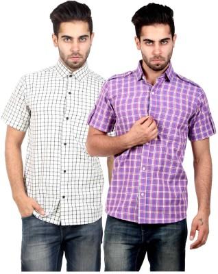 S9 Men's Checkered Casual Beige, Purple Shirt