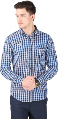 Cotton County Men's Checkered Casual Light Blue Shirt