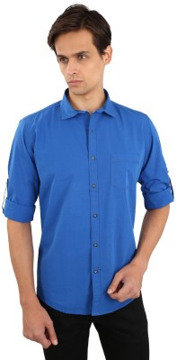 Eden Elliot Men's Solid Casual Blue Shirt