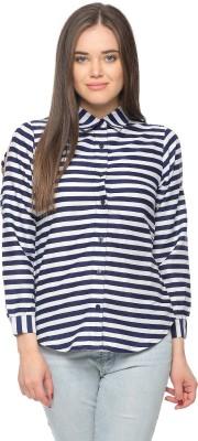 Vvoguish Women,s Striped Casual Dark Blue Shirt