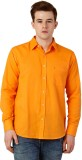 Oxolloxo Men's Solid Casual Orange Shirt