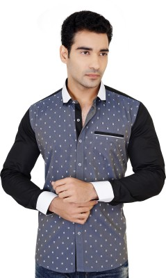 X-Secret Men's Printed Festive Grey Shirt