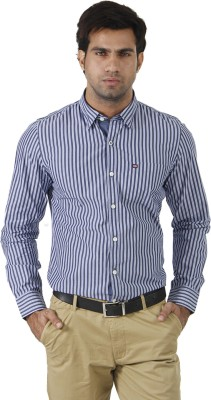 London Fog Men's Striped Formal White, Blue Shirt