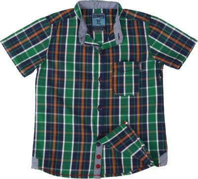 Ice Boys Boy's Checkered Casual Green Shirt