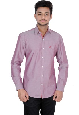 Jevis Men's Solid Casual Pink Shirt