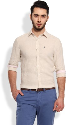 Oxford Club Men's Solid Casual Linen Beige Shirt