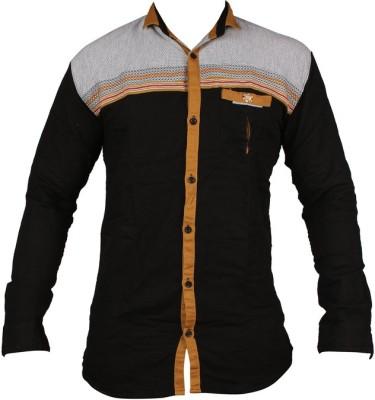 ZEDX Men's Striped Casual Black Shirt