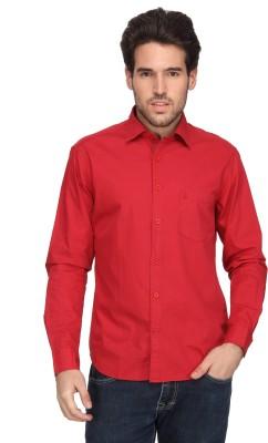 Denimlab Men's Solid Casual Red Shirt