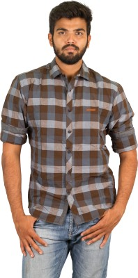 Groove Men's Checkered Casual Brown Shirt