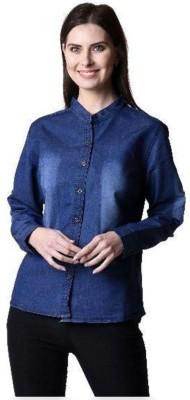 Beautic Women's Solid Casual Denim Blue Shirt