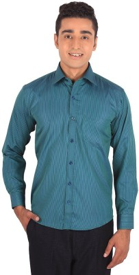 Henry Spark Men's Striped Casual Green Shirt
