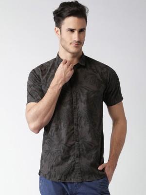 Mast & Harbour Men's Printed Casual Dark Green Shirt