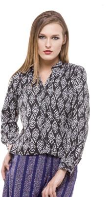 Being Fab Women's Geometric Print Casual Black Shirt