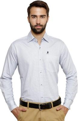 Ebry Men's Paisley Formal White, Blue Shirt
