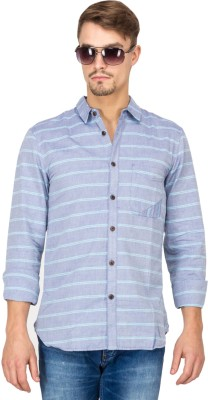 Slub By INMARK Men's Striped Casual Blue Shirt
