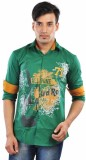 CREEDS Men's Printed Casual Green Shirt