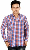 Mensfield Men's Checkered Casual Red Shi...