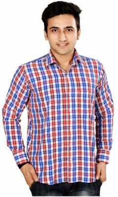 Mensfield Men's Checkered Casual Red Shirt