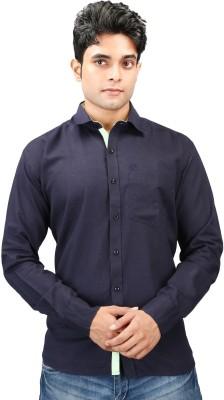 Relish Men's Solid Formal Dark Blue, Light Green Shirt