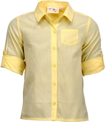 Budding Bees Baby Girl's Solid Casual Yellow Shirt