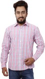 Gustrow Men's Checkered Casual Pink Shir...