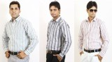 Siera Men's Striped Formal Grey, Green, ...