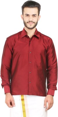 Kaatru Men's Self Design Casual Maroon Shirt