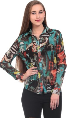 Wild Hawk Women's Printed Casual Green Shirt