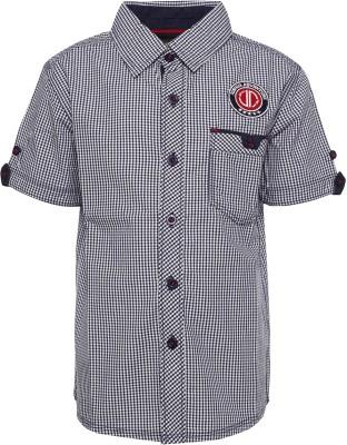 Joshua Tree Boy's Checkered Casual Dark Blue Shirt