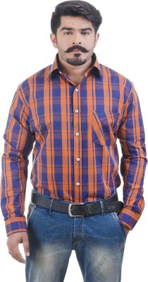 Lujo Diseno Men's Checkered Formal Multicolor Shirt