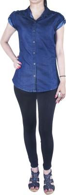 Mitra Creations Women's Solid Casual Denim Dark Blue Shirt