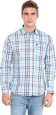 Silver Streak Men's Checkered Casual Light Blue Shirt