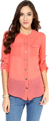 Raindrops Women's Solid Casual Pink Shirt