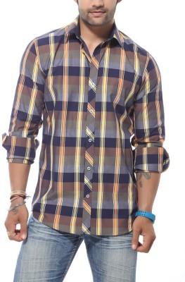 Roger Clothier Men's Checkered Casual Multicolor Shirt